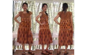 ETHNIC VINTAGE INDIAN CONTTON TRAPEZE BOHO DRESS Image