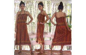 ETHNIC VINTAGE GEOMETRIC PRINTED TRAPEZE DRESS Image