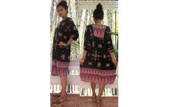 ETHNIC VTG BOHEMIAN TRIBAL PRINTED FOLK DRESS Image