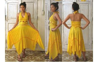 VINTAGE MEXICAN BOHO HALTER PIXIES SHEERS DRESS Image