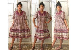 VINTAGE INDIA GAZUE FOLK FESTIVAL BOHO HIPPY DRESS Image