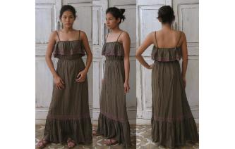 VINTAGE RUFFLE LACE TRIM BOHEMIAN HIPPY MAXI DRESS Image