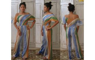 VINTAGE OFF SHOULDER STRIPPY HIPPIE BOHO JUMPSUIT Image