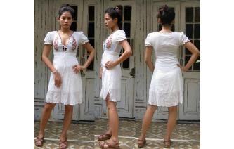 ETHNIC VINTAGE ARTISAN GAUZE BOHO EMBROIDER DRESS Image