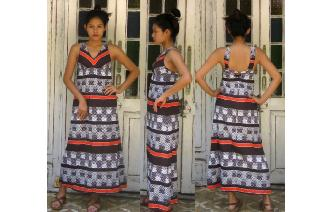 ETHNIC VTG GEOMETRIC PRINTED MAXI HIPPY BOHO DRESS Image