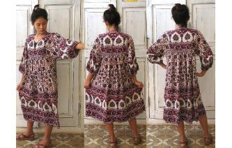 ETHNIC VINTAGE INDIA COTTON SMOCK HIPPIE DRESS Image