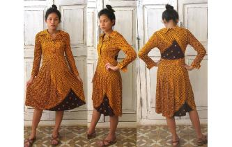 vintage 70's GEOMETRIC PRINT HIPPIE LONG SLV DRESS Image