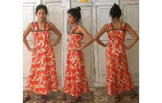 ETHNIC VINTAGE GEOMETRIC HIPPIE MAXI DAY DRESS Image