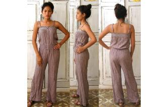 VINTAGE STRAPLESS WIDE LEG BOHO JUMPSUIT PLAYSUIT Image