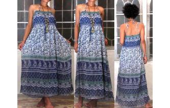 ETHNIC VINTAGE INDIAN GAUZE METALLIC MAXI DRESS Image