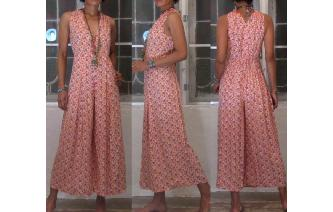VTG FLORALS PRINTED RAYON DRAPED WIDE LEG JUMPSUIT Image