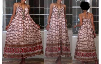 ETHNIC VINTAGE INDIAN GAUZE HIPPIE BOHO MAXI DRESS Image