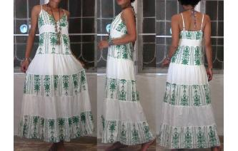 ETHNIC VINTAGE EMBROIDERED BOHO MAXI DAY DRESS Image