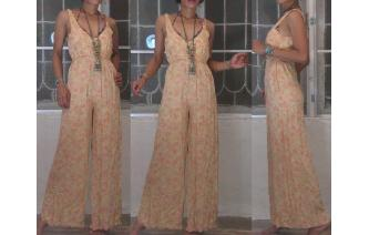 VINTAGE FLORALS DEEP V NECK EMPIRE HIPPIE JUMPSUIT Image