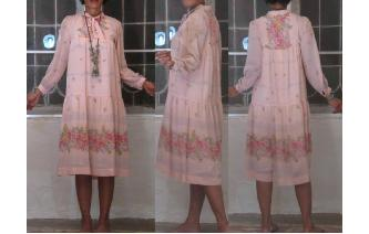 VINTAGE 70'S CHIFFON PRAIRIE LONG BOHO DAY DRESS Image