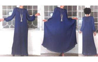 VTG NAVY CHIFFON LACE PLEAT BALLOON SL MAXI DRESS Image
