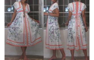 ETHNIC BOHO INDIAN GAUZE VINTAGE KAFTAN MAXI DRESS Image