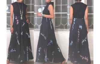 GOTHIC VTG CHIFFON PLEATED MAXI GOTH MAXI DRESS Image