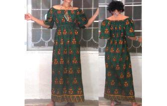 ETHNIC VTG TRIBAL OFF SHOULDER GYPSY MAXI DRESS Image