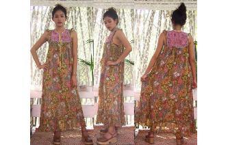 ETHNIC VINTAGE INDIAN GAUZE HIPPIE MAXI DRESS Image