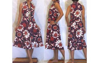 ETHNIC VINTAGE HAWAIIAN FLORALS BOHO DAY DRESS Image