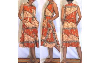 ETHNIC VINTAGE 70'S TRIBAL PRINTED BOHO DAY DRESS Image