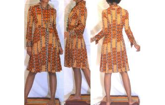 VINTAGE 70'S HIPPIE LONG SLEEVES SHIRT DRESS Image