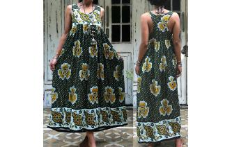 ETHNIC VINTAGE INDIAN GAUZE BOHO MAXI SHEERS DRESS Image