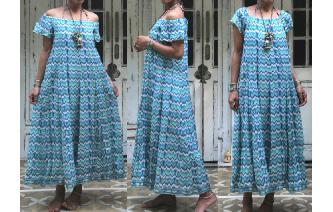 ETHNIC VINTAGE OFF SHOULDER BOHEMIAN MAXI DRESS Image