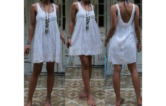 VTG WHITE GAUZE EMBROIDERE CUT WORK BOHEMIAN DRESS Image