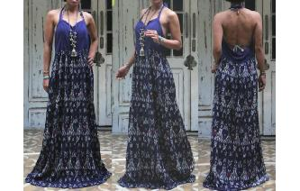 ETHNIC VTG GYPSY SEXY LONG HALTER MAXI SUN DRESS Image