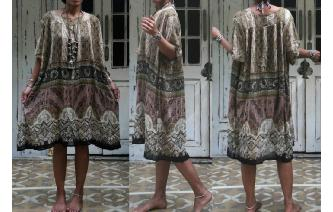 ETHNIC VINTAGE INDIAN GAUZE NATURAL COLOR DRESS Image