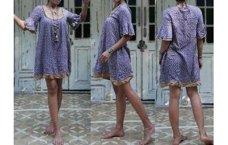 ETHNIC VINTAGE INDIAN GAUZE HIPPIE SHEERS DRESS Image