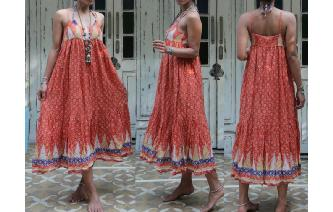 ETHNIC VINTAGE INDIAN COTTON GAUZE BOHO MAXI DRESS Image