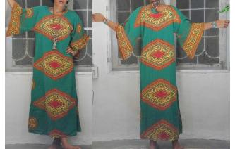 ETHNIC VINTAGE TRIBAL HIPPIE ANGLE SLV MAXI DRESS Image