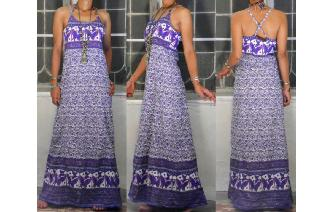 ETHNIC VINTAGE INDIAN GAUZE BUTTERFLY MAXI DRESS Image