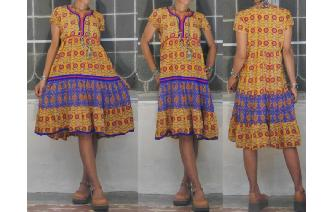 ETHNIC VINTAGE INDIAN GAUZE SHEERS BOHO FOLK DRESS Image