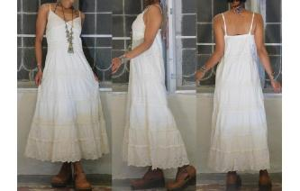 VINTAGE ETHNIC CREAM LACE CROCHET BOHO MAXI DRESS Image
