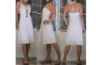 VINTAGE 70'S HIPPIE STRIPLY HALTER BOHO SUN DRESS Image