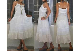 VINTAGE CREAM GAUZE LACE CORSET BOHO SHEERS DRESS Image