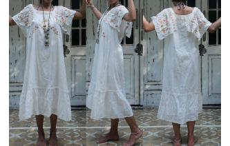 VINTAGE GAUZE EMBROIDERED FLUTTER SLV MAXI DRESS Image