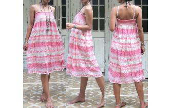 ETHNIC VINTAGE INDIAN GAUZE HIPPIE SMOCK DRESS Image