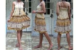 INDIAN GAUZE ETHNIC VINTAGE HIPPY SMOCK BOHO DRESS Image