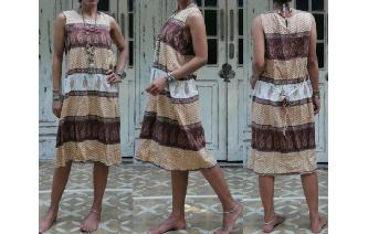 ETHNIC VINTAGE INDIA COTTON HIPPIE BOHO MIDI DRESS Image
