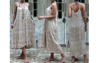 VINTAGE RAYON NATURAL TONES BOHO HIPPIE MIDI DRESS Image