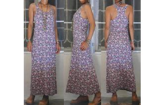 VINTAGE HIPPIE BOHO FLORALS SHEERS MAXI SUN DRESS Image