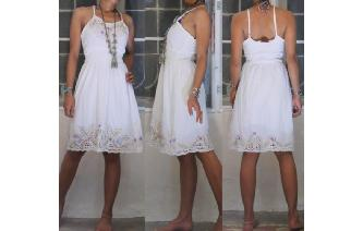 ETHNIC WHITE GAUZE VINTAGE EMBROIDER CUTWORK DRESS Image
