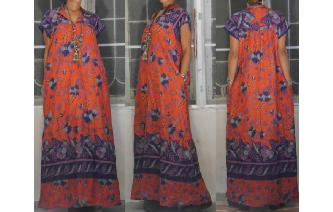 ETHNIC VINTAGE 70'S R. MICHAEL ALAN MAXI DRESS M Image