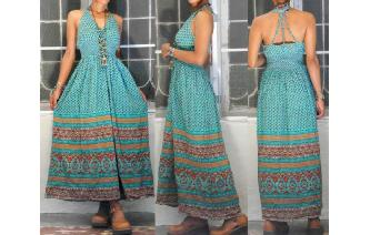 ETHNIC VINTAGE INDIAN GAUZE EMPIRE HIPPIE DRESS Image