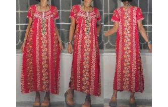 VINTAGE ETHNIC INDIAN GAUZE HIPPIE BOHO MAXI DRESS Image